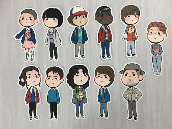 Stranger Things stickers set, Eleven, Barb, laptop stickers, chibi notebook sticker, Nancy, Joyce  Set of 11 stickers containing the following characters:  Eleven Nancy Will Jonathan Joyce Hopper Dustin Lucas Mike Barb Steve   Perfect for the back of your phone, tablet or anywhere you want to show off your favorite character  ----------------------------------------------------------------------------- Glossy finish No Watermark on product Easy to peel Non Waterproof Sticker paper Permanent…