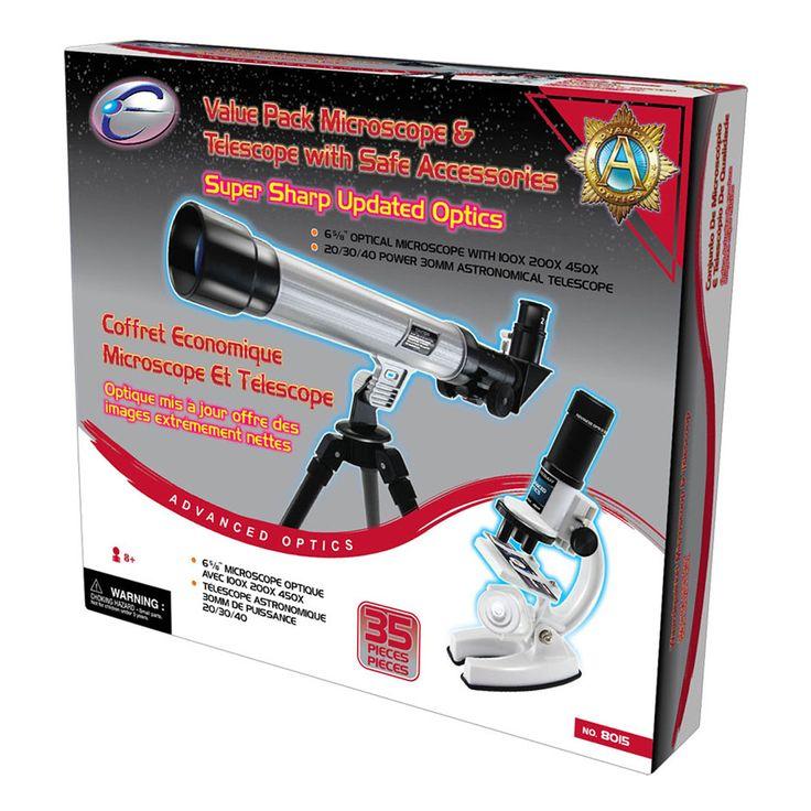 Set EASTCOLIGHT Microscop si Telescop cu accesorii, 35 piese, jocuri educative ieftine de Craciun