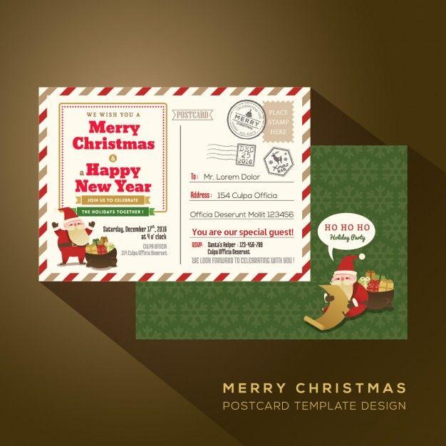 Natal e Feliz Ano Novo feriado do correio aéreo postal Vetor grátis