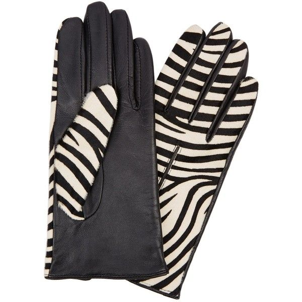Dents Printed Calf Hair And Leather Gloves (£65) ❤ liked on Polyvore featuring accessories, gloves, leather gloves, dents gloves, real leather gloves and zebra print gloves