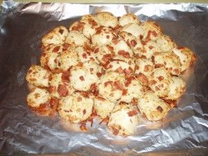 Bacon bread -- starts with frozen bread dough; combines cheese, ranch and bacon into one.