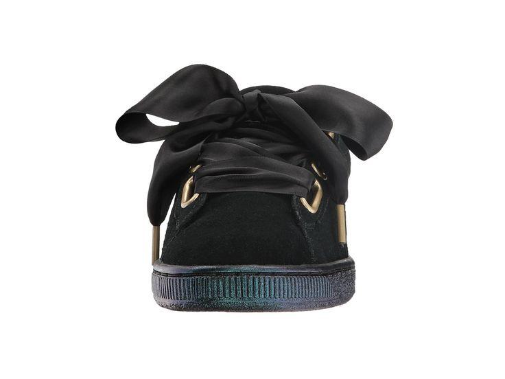 PUMA Suede Heart Satin Women's Shoes Puma Black/Puma Black