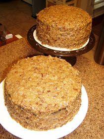 German Chocolate Cake w/frosting Recipe  Frosting Recipe:  Ingredients:  1 cup evaporated milk  1/2 cup sugar  1/2 cup dark brown sugar ...