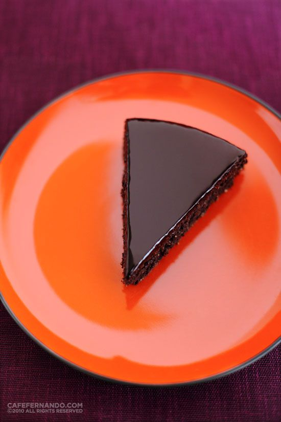 L'Orange - orange-scented chocolate and almond cake covered with a lacquer chocolate glaze