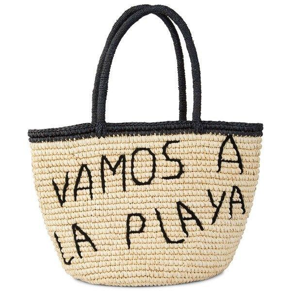 Sensi Studio Vamos Ala Playa Medium Tote found on Polyvore featuring bags, handbags, tote bags, beach bag, evening purses, white beach tote, straw beach tote, holiday tote bags and straw tote beach bag