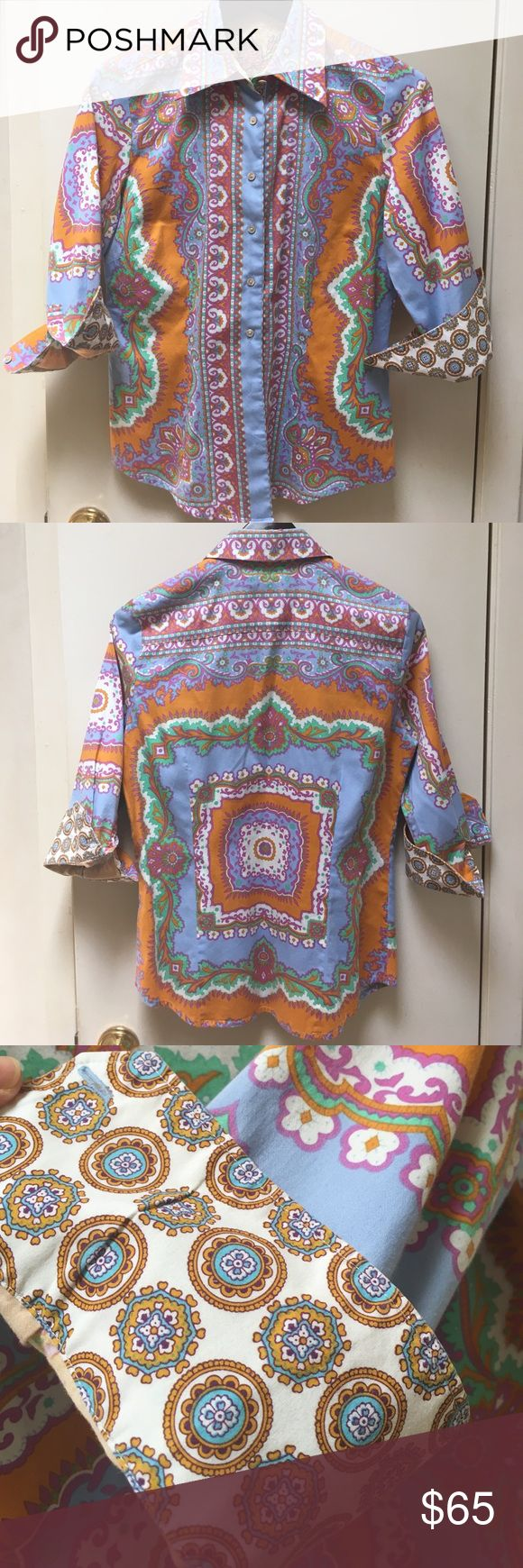 """🌸Robert Graham Colorful Button Down🌸 Size S/P Great Long Sleeve Robert Graham Button Down. 15"""" across shoulders and 26 1/2"""" long. Great Cuff that Robert Graham is popular for. Robert Graham Tops Button Down Shirts"""