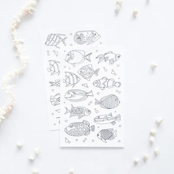 coloring stickers - fish stickers - planner stickers - adult coloring - fish coloring page stickers - fish drawing stickers - fishing gifts by AnnaGrundulsDesign
