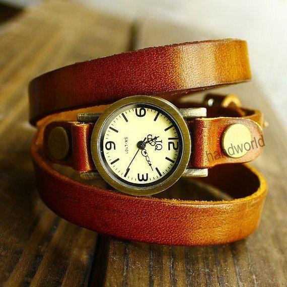Handmade watch,Retro wrap watch,leather watch,Vintage style wrist watch,Women And Men watch,friendship gift,Christmas gift-N2066