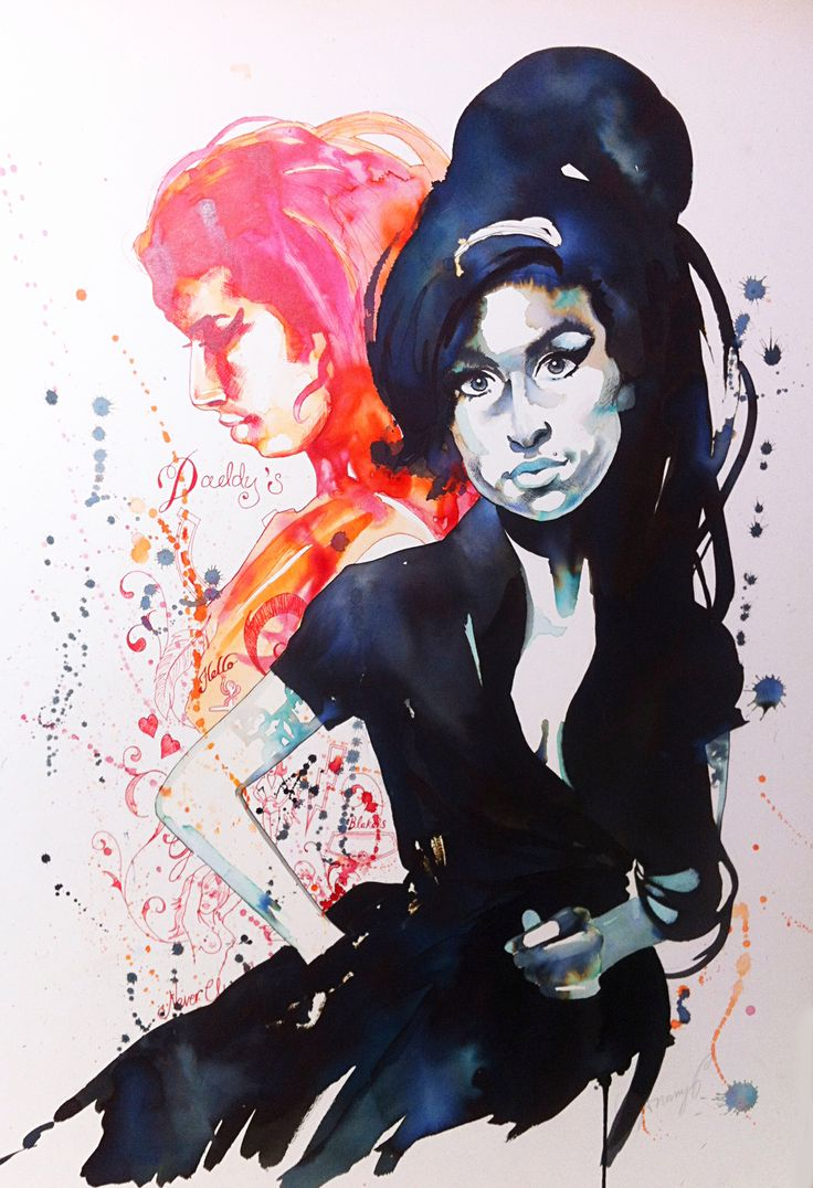 The incomparable Amy Winehouse, in pen and inks
