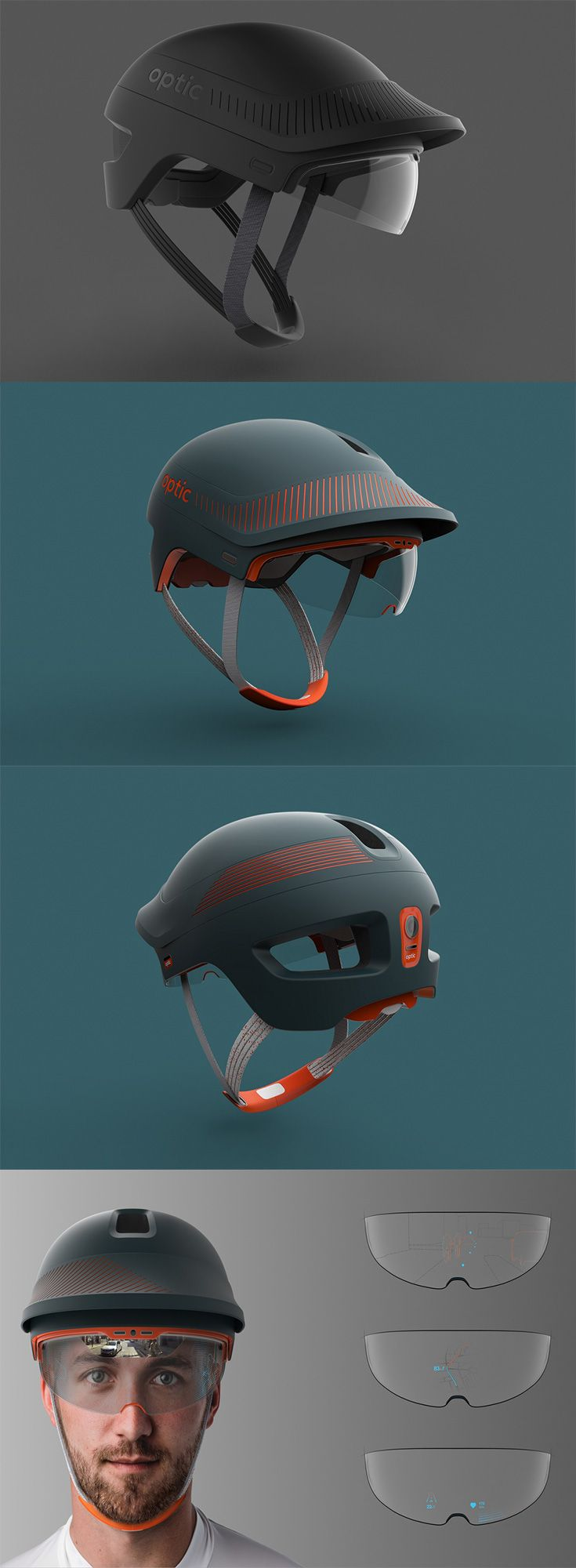 'Optic' is a helmet for bikers that gives them an augmented reality cycling experience, it comes with two cameras mounted on the front and back that not only monitor  traffic, but also guide them through obstacles, allowing them to optimize their ride time and effort... READ MORE at Yanko Design !