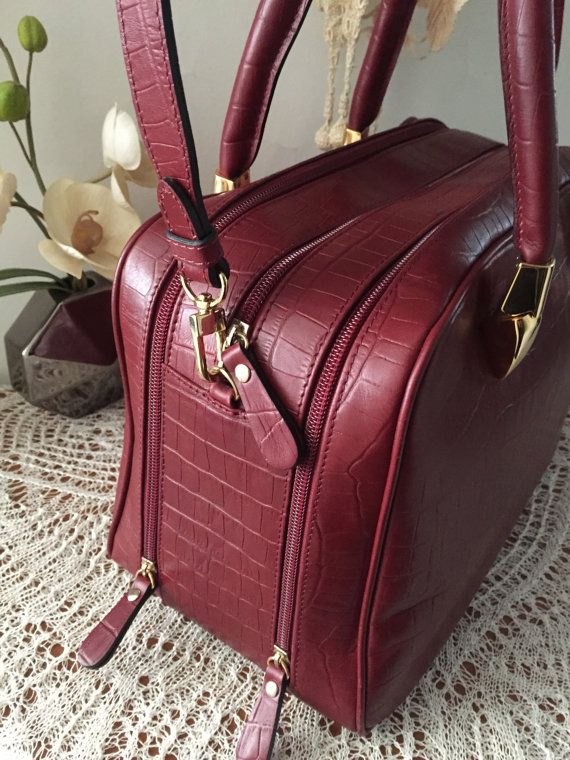 Red leather bag, Women briefcase, Genuine leather with croco print, Leather satchel, Leather tote, Travel bag, Purse, Tote, Ledertasche, Bag