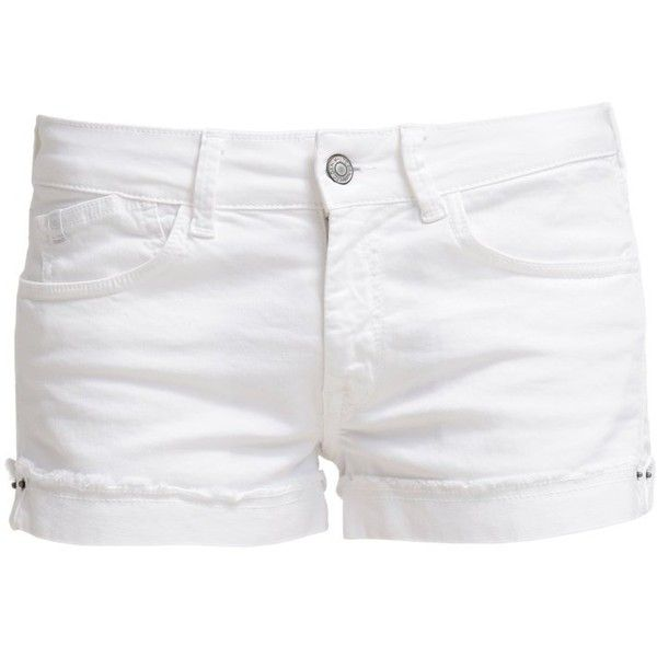 Le Temps Des Cerises Denim shorts blanc found on Polyvore