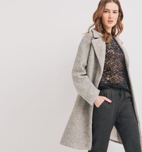 Long manteau d hiver Femme gris - Promod