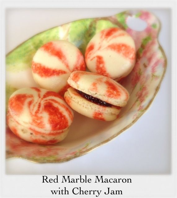 Red Marble Macaron with Cherry Jam