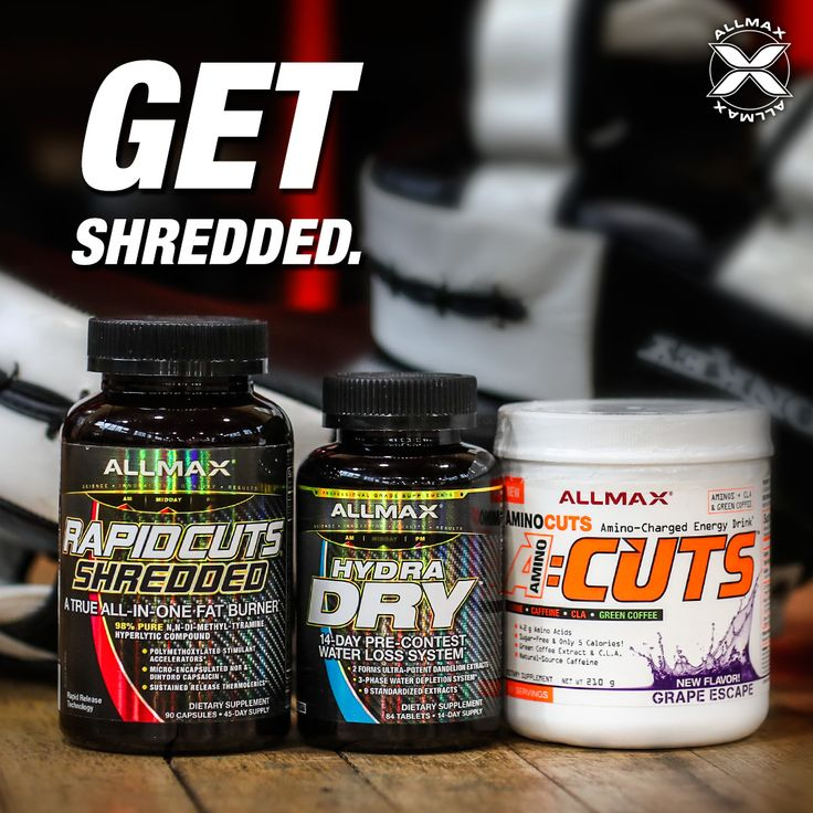 #ACUTS will give you the boost of energy you need, without the jitters to get you to the gym and power through your training!  #RAPIDCUTS Shredded is an all-in-one fat burner with patented and highly concentrated ingredients to help accelerate your fat loss and work towards the physique you train so hard for.  #HYDRADRY is a water removal system that is tailored to the needs of the on-stage competitor who needs the sharpest, razor-like hardness.