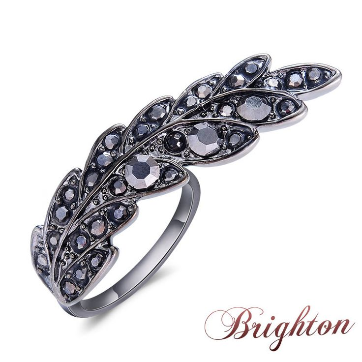 Hot New Alloy Angel Wing Ring Black/Silver/God Rings With Crystal Feather Fashion Rings For Women 2015