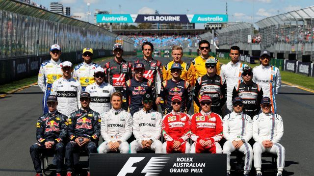 F1 drivers group photo at Formula One World Championship, Rd1, Australian Grand Prix, Race, Albert Park, Melbourne, Australia, Sunday 20 March 2016. © Sutton Motorsport Images