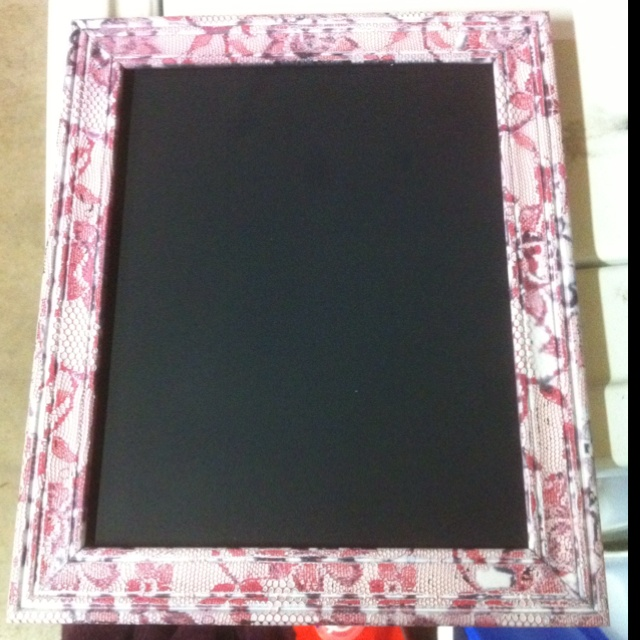Placed lace over store bought frame and spray painted. Then made the glass into chalkboard using chalkboard spray paint.