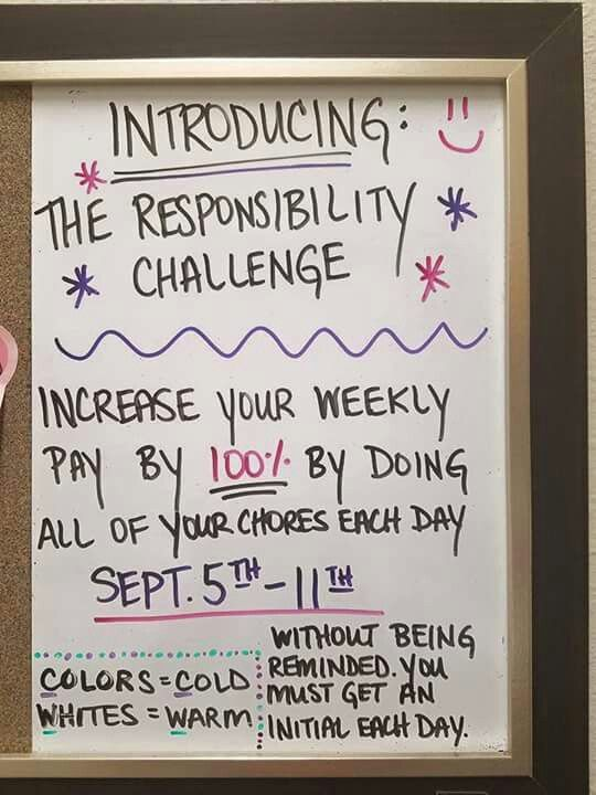 Responsibility chart - good for pre-teens and Teens