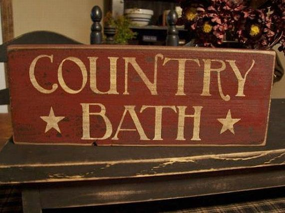Primitive Country Style Handmade Wood Country Bath Sign