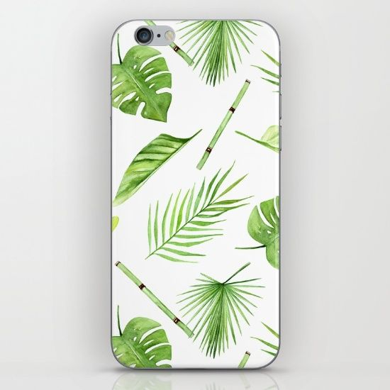 watercolor pattern tropical leaves iPhone & iPod Skin
