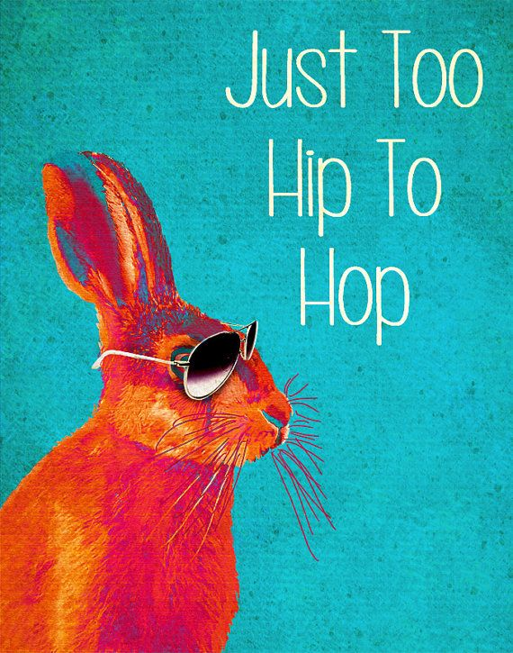 Too Hip To Hop Blue 14x11 Rabbit Art Print Acrylic Painting Giclee Mixed Media Animal Painting Wall Decor Wall hanging Wall Art. I laughed SO HARD