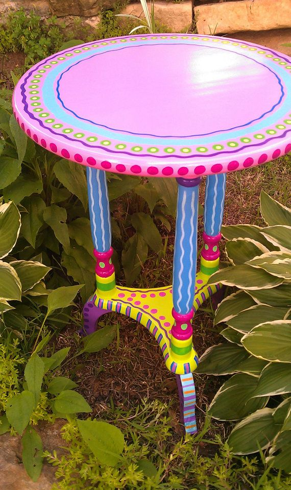 SOLD sample of CUSTOM WORK- Side Table- Hand Painted Furniture Made to Order