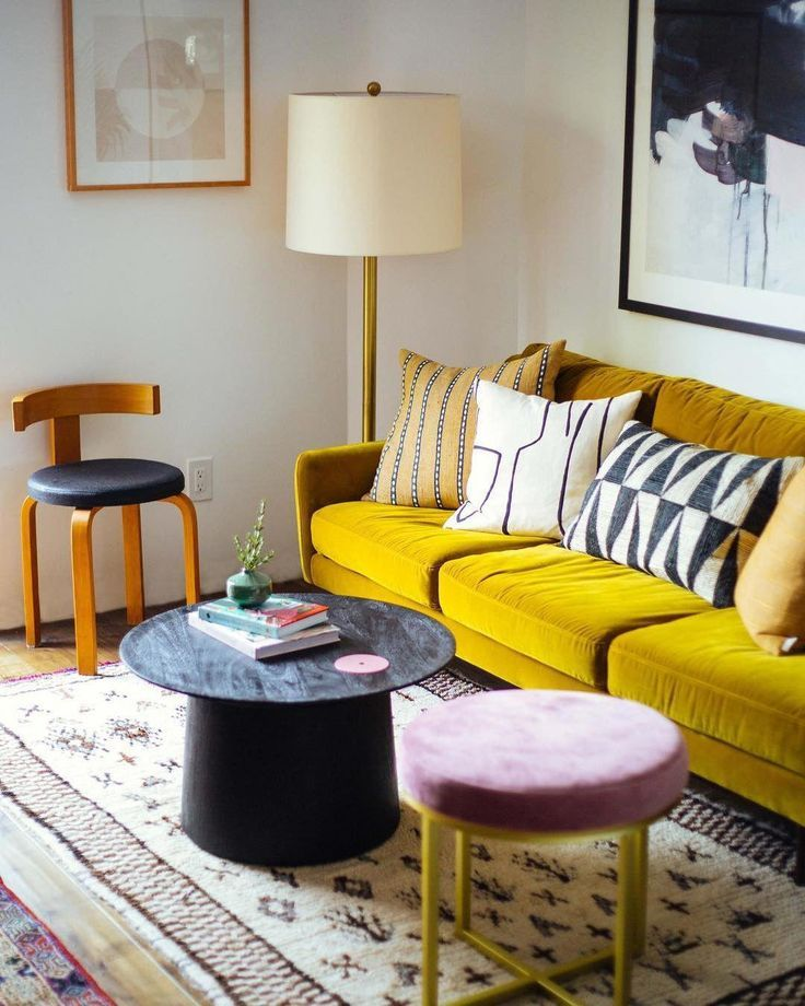 Matrix Yarrow Gold Sofa Article Boholivingroom Yellow Living Room Yellow Decor Living Room Gold Sofa Living room ideas yellow sofa