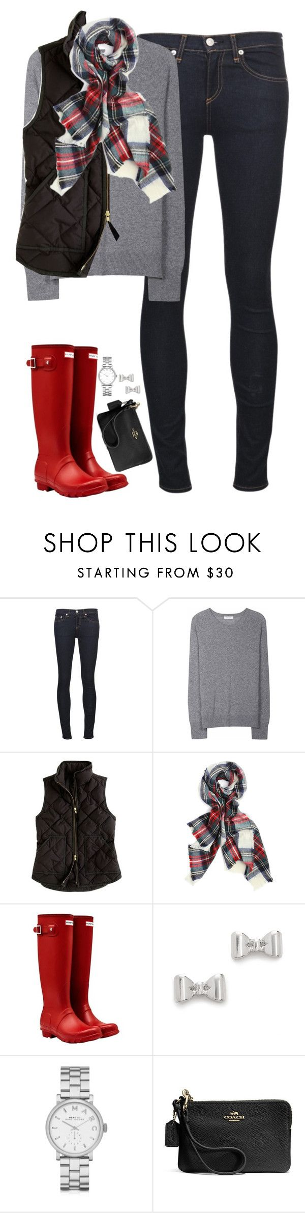 """Black vest, tartan scarf & red Hunter boots"" by steffiestaffie ❤ liked on Polyvore featuring rag & bone/JEAN, Equipment, J.Crew, Hunter, Marc by Marc Jacobs, Coach, women's clothing, women, female and woman"