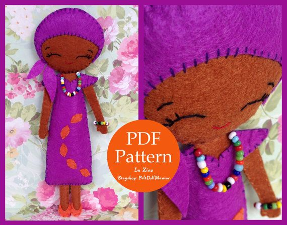 The Color Purple Doll. Felt Doll. PDF Pattern. Sweet African Girl. on Etsy, US$5.00