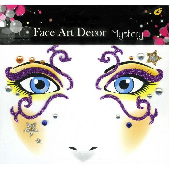 Glitter schmink sticker mystery. Glitter sticker met paarse sierlijke lussen en strass steentjes voor op het gezicht. Geschikt voor volwassenen.