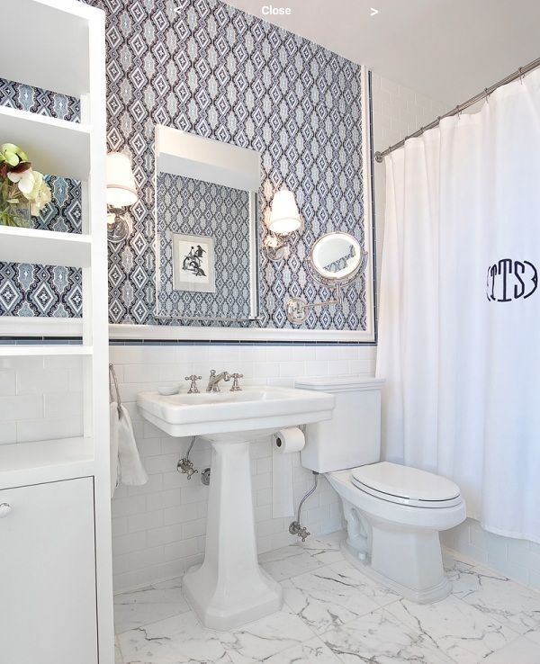 White bathroom wallpaper monogrammed shower curtain for Bathroom interior design wallpaper