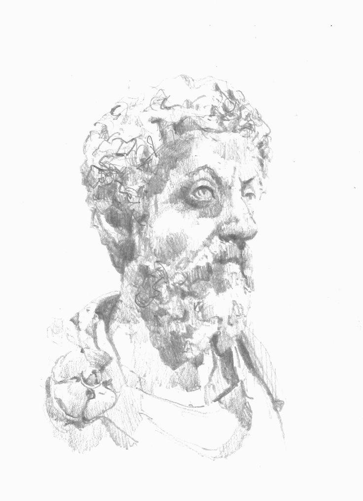 Bust of Marcus Marcus Aurelius I drew in the Kunsthistorisches Museum Vienna.
