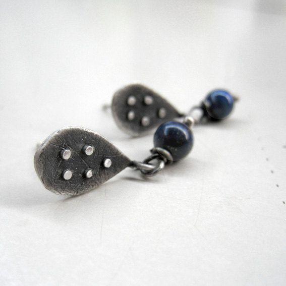 Lapis lazuli  Sterling Silver Stud Earrings Drop by applenamedD, €30.00