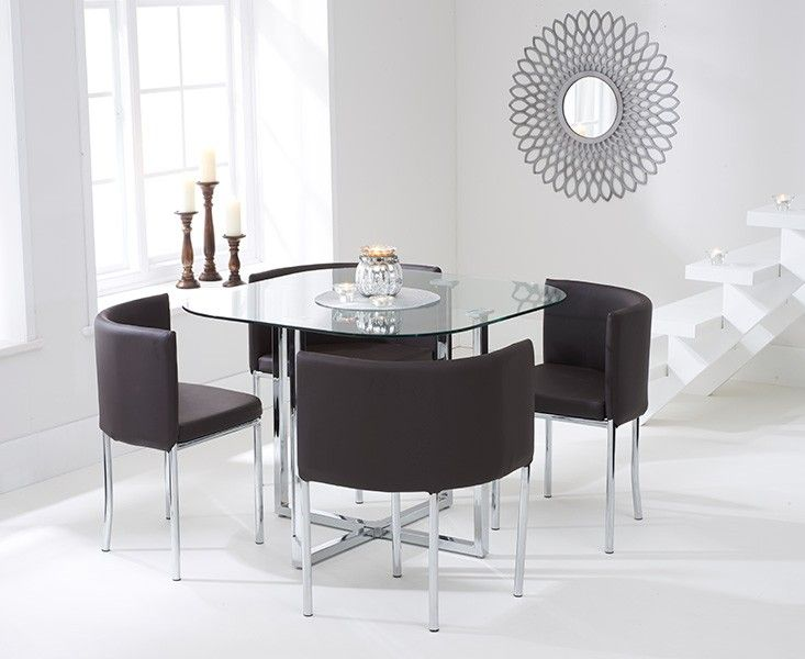Algarve Glass Stowaway Dining Table with Brown High Back Stools.