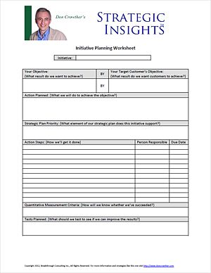 Free downloadable business planning worksheet from Don Crowther ...