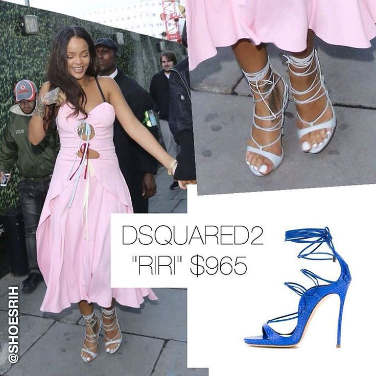 "Dsquared2 light blue ""Riri"" strappy sandals $965, @badgalriri"