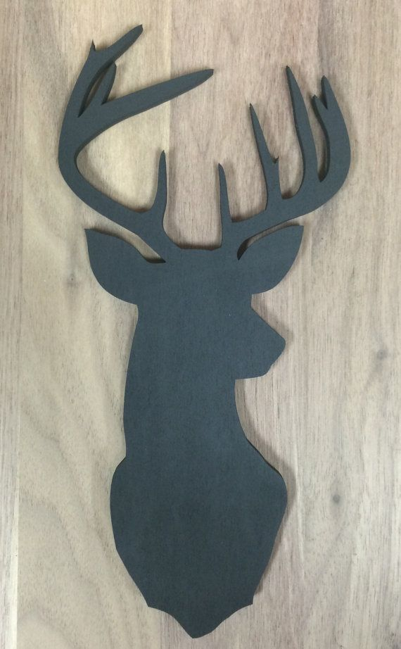 Unfinished Wood Deer Silhouette Laser Cutout, Home Decor, Country, Buck, Antlers, Rustic