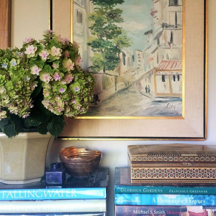 Interior Design By Anna Hackathorn Styling Vignette Hydrangea Vintage Art