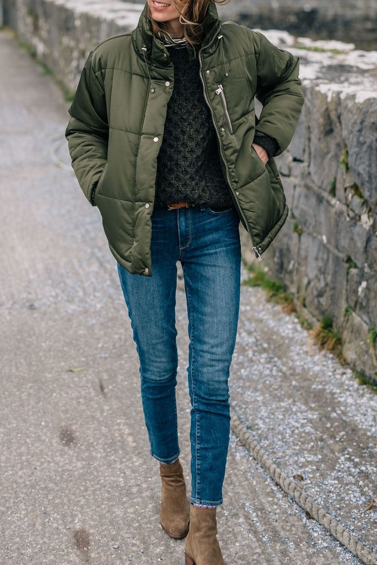 Army green puffer coat and paige skinny jeans #winter #outfit