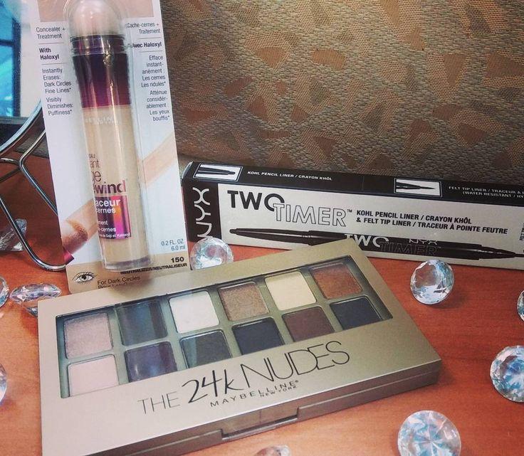 Mini #haul productos @maybelline y @nyxcosmetics_pr #agerewind #concealer *neutralizer  #the24knudes #eyeshadows #nyx #twotimer #liner #khol  El concealer la vida.  La paletta debo probarla.  El liner recomendado por @curvyitgirl hice un swatch y es bien negrito y no se sale ����#makeuplover #makeupaddict �� http://ameritrustshield.com/ipost/1563289855685584609/?code=BWx69dRHGbh