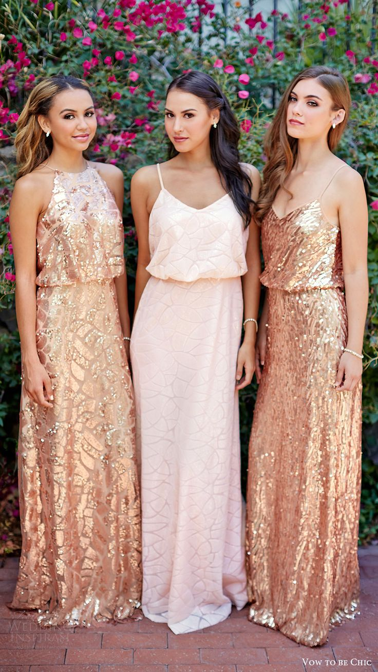vow to be chic 2016 metallics rose gold blush off white bridesmaids dresses for rent