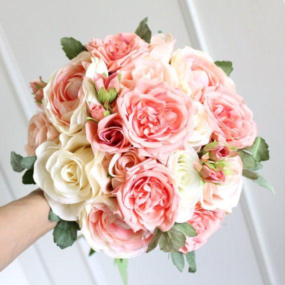 wedding flower, bridal bouquet, wedding bouquet, keepsake bouquet, Peach Coral Ivory Wild Roses Pink Ranuculus Bouquet Package