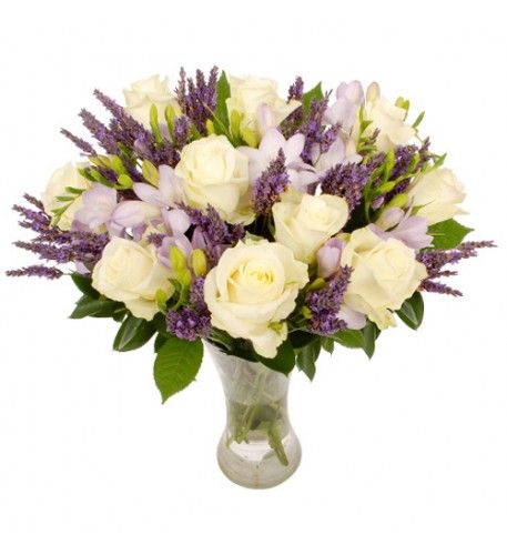 This is a truly charming bouquet full of fragrant flowers. The combination of the scented purple lavender and lilac freesia contrasts with the pure white roses to make this a classic bouquet that is perfect for every recipient and occasion.