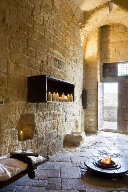 Stone Room at Sextantio Hotel in Matera, Italy... Basically a hotel built in an Italian cave.