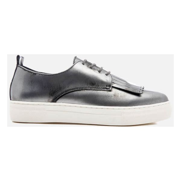 Dune Women's Eddy Leather Flatform Trainers (£40) ❤ liked on Polyvore featuring shoes, sneakers, silver, platform shoes, chunky platform shoes, metallic platform shoes, platform lace up shoes and leather platform sneakers