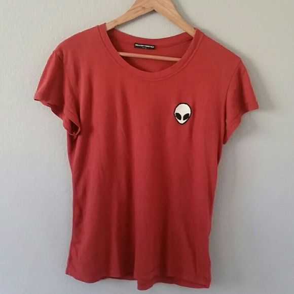 FLASH SALE BM Alien Patch Margie More of a rustic red than bright red. Received in a trade. Great condition! No piling :) Might trade for other graphics or alien patch shirts but really looking to sell! One size but can virtually fit XS-L. Price starts off high so I can lower later for discount shipping! Brandy Melville Tops