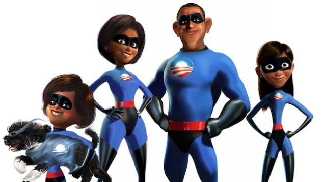 During the last presidential election, comic book artist Alex Ross portrayed Barack Obama as Superman. Now Nikkolas and Nicole Smith have gotten the entire first family in on the superheroic family in on the act, envisioning the Obamas in the style of Pixar's The Incredibles.