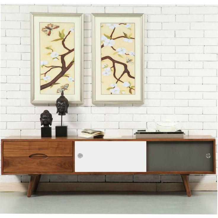 Svend Entertainment Unit - Solid Walnut - 180x45x50cm - White/Grey Doors