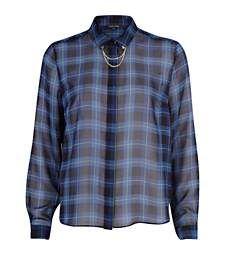 Blue check sheer chain collar shirt £30.00